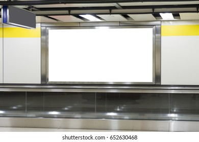Blank billboard in the city building, shot in subway station. Useful for your advertising.