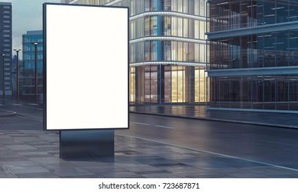 blank billboard in city night 3d rendering