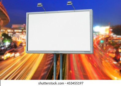 Blank billboard at cityscape , put your own text here