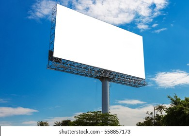 blank billboard with clouds and blue sky - can advertisement for display or montage product and business