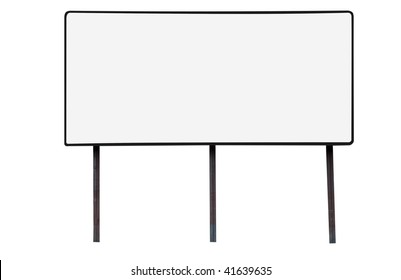 Blank billboard with copy space isolated on white background with clipping path.