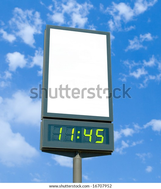 Blank Billboard Digital Clock Stock Photo (Edit Now) 16707952