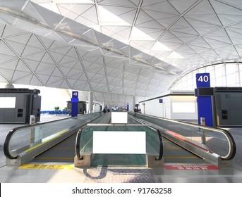 Blank Billboard and escalator in the airport