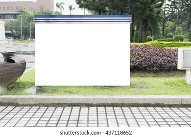 blank billboard in green park field at city park zone,Empty billboard with copy space,selective focus