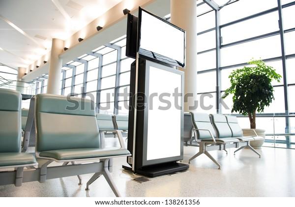 Blank billboard at a international airport.