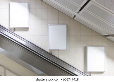 Blank billboard located in subway for advertising
