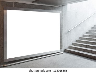 Blank billboard located in underground hall