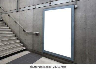 Blank billboard located in underground hall, London, United Kingdom, uk