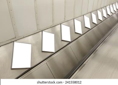 Blank billboard located in underground hall, London, United Kingdom, uk