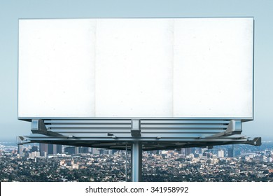 Blank billboard at megapolis city view backgound, mock up