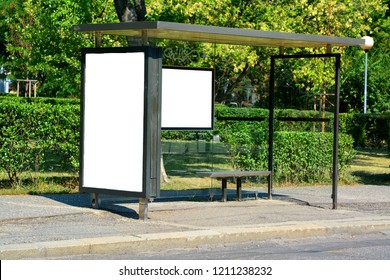 Blank billboard or mock up of bus station in europe  with space for text