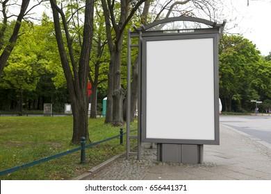 Blank billboard mock up in a bus stop