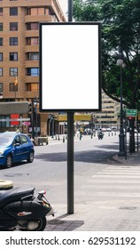 Blank billboard mock up in the city of Valencia. Use this photo day mockup for your outdoor design