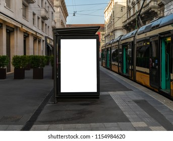 blank billboard mock up in milano city center tram station advertising display