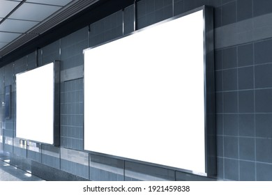 Blank billboard mock up signboard frame advertising located in subway underground hall, blurred background layout insert text for customer