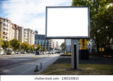 Blank billboard mockup for advertising, City street background