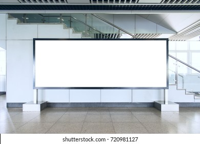 Blank billboard in modern interior hall. Useful for your advertising.