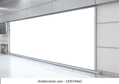 Blank billboard in modern underground hall
