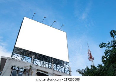 Blank billboard for new advertisement on blue sky
