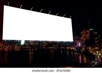 blank billboard at night time for advertisement. street light .