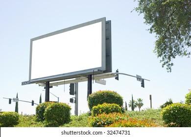 Blank billboard off the side of a freeway