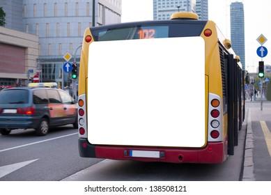 Blank billboard on back of a bus