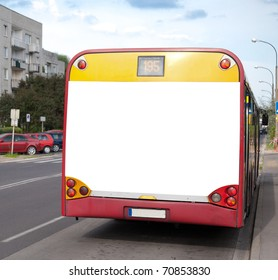 Blank billboard on back of a bus for your advertisement