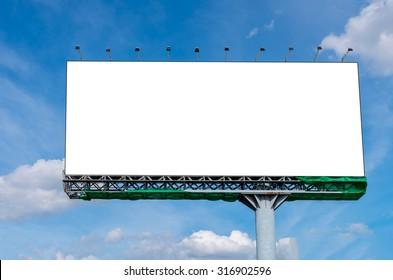Blank billboard on beautiful sky for advertisement