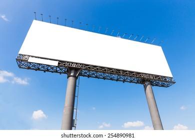 Blank billboard on blue sky ready for new advertisement