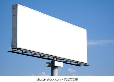 Blank billboard on blue sky for your advertisement