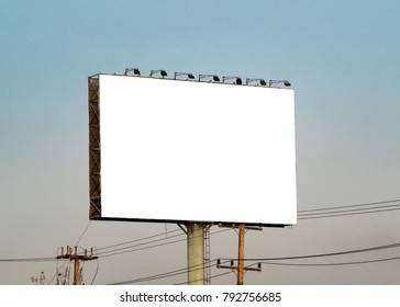 Blank billboard on blue sky background for new advertisment