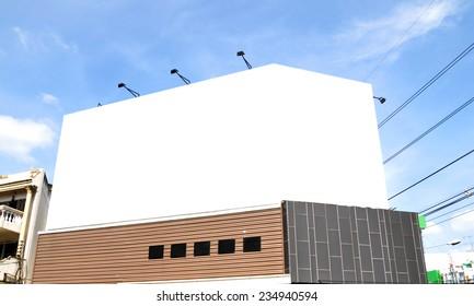 Blank billboard on the building.