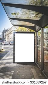Blank billboard on the bus station