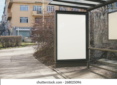Blank billboard on bus stop for your advertisement or graphic design
