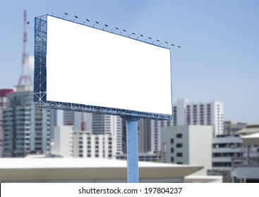 blank billboard on city