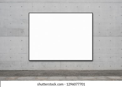 blank billboard on concrete wall with copy space for advertisment , banner mock up