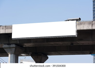 blank billboard on expressway at noon.