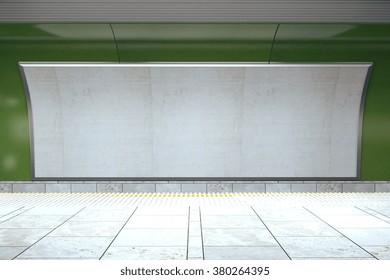 Blank billboard on green subway wall in empty hall, mock up 3D Render