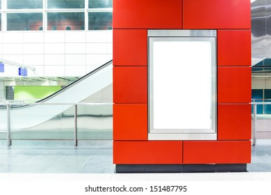 Blank billboard on modern subway background