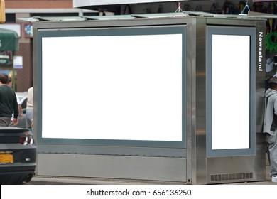 Blank billboard on newsstand