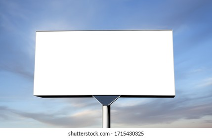 Blank billboard on sky background ready for new advertisement. Billboard with space for your advertisement against blue sky