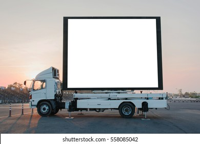 Blank billboard on a truck LED panel for sign Advertising at twilight sky sunset background, for an advertisement
