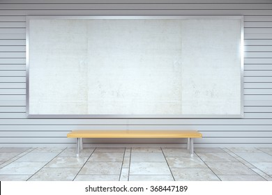 Blank billboard on the wall and wooden bench in empty hall, mock up