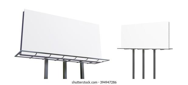 Blank billboard on white 3d rendering