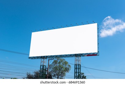 Blank billboard for outdoor advertising blue sky background.