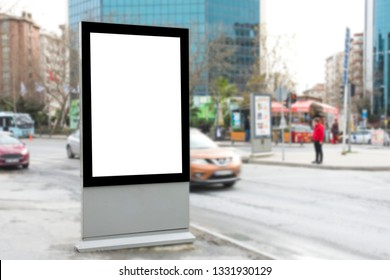 Blank billboard outdoors, outdoor advertising, public information board on city road