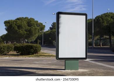 Blank billboard outdoors, in a public zone