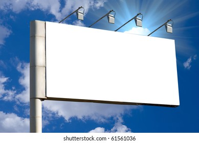 Blank billboard over blue sky background