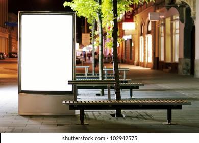 Blank billboard panel at night