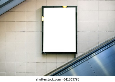 Blank billboard or poster in the city building, shot in subway station